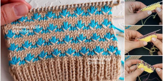 ¡Hermoso patrón de tejido de dos tonos!